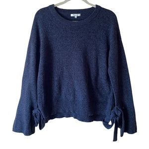 Madewell blue heather tie cuff pullover sweater size Large NWT